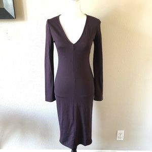 Zara Plum Purple Stretchy Fitted V-Neck Dress